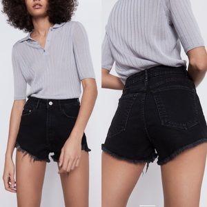 ZARA TRF Black High Rise Frayed Hem Denim Shorts